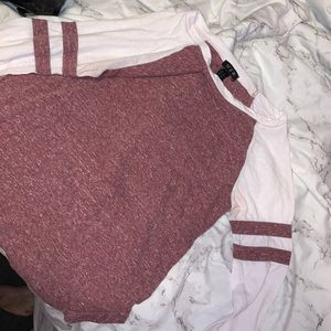 Maroon and white T